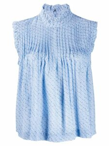 Ganni ruched tank top - Blue