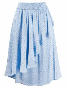 Ganni asymmetric ruffled skirt - Blue