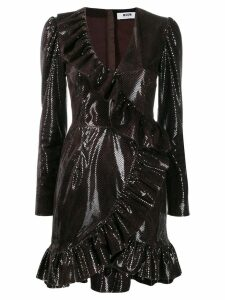 MSGM sequin embellished ruffle dress - Brown