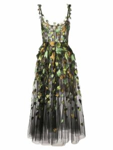 Oscar de la Renta ballet-styled dress with leaf embroidery - Black