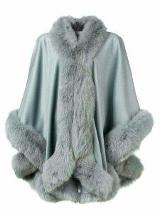 Liska fox fur trim cape - Blue