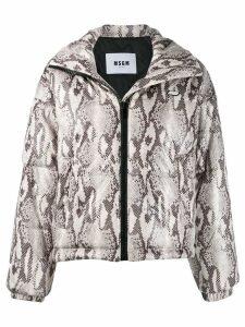 MSGM snakeskin print puffer jacket - Neutrals