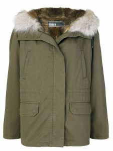 Yves Salomon Army fur-trimmed parka coat - Green