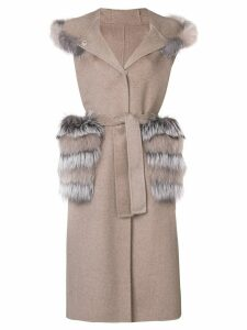 Liska fur details sleeveless coat - Neutrals