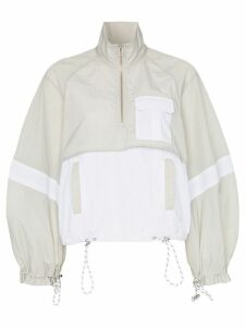 Ganni two-tone cropped track jacket - Blue