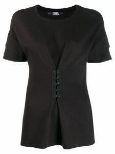 Karl Lagerfeld peplum T-shirt with hook & eye detailing - Black