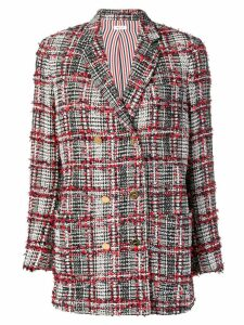 Thom Browne checked tweed jacket - Red