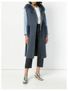Liska fur details sleeveless coat - Blue
