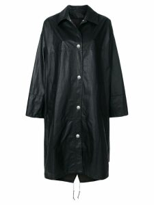 Yves Salomon long paper effect coat - Black