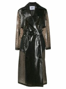 MSGM leopard print trench coat - Grey
