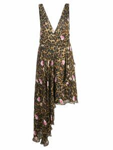 Nicole Miller sleeveless leopard print dress - Brown