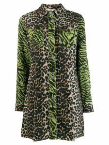 Ganni animal print shirt dress - Green