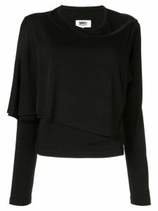 Mm6 Maison Margiela layered jersey top - Black