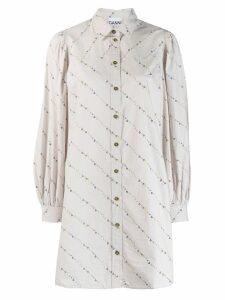 Ganni oversized floral print shirt - Grey