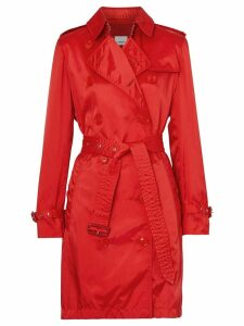 Burberry Detachable Hood Technical Nylon Trench Coat - Red