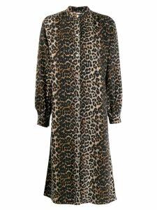 Ganni boxy leopard print shirt dress - Brown