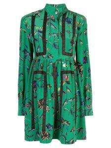 Derek Lam 10 Crosby Long Sleeve Half Placket Botanical Print Shirt