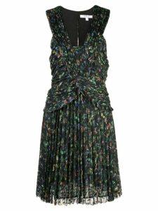 Derek Lam 10 Crosby Ruched Pleated Richter Floral Mini Dress - Black