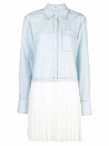 Derek Lam 10 Crosby Long Sleeve Mixed Media Cotton Poplin Shirt Dress