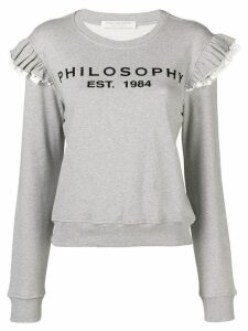 Philosophy Di Lorenzo Serafini ruffle shoulder logo sweatshirt - Grey