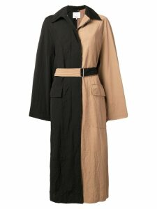 3.1 Phillip Lim bicolour long trench coat - Black