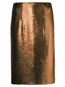 Paule Ka sequin pencil skirt - Brown