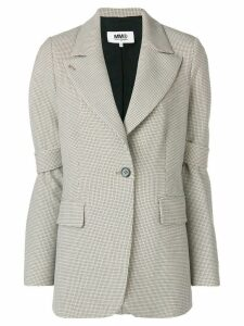 Mm6 Maison Margiela check tailored fitted blazer - Neutrals