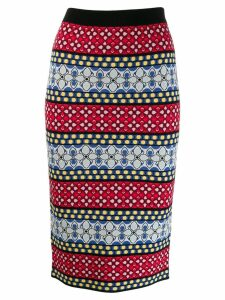 Alice+Olivia floral knitted midi skirt - Red