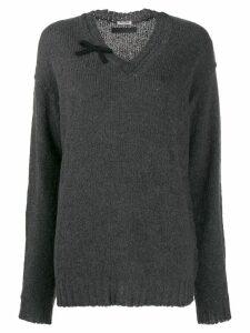 Miu Miu oversized v-neck jumper - Grey