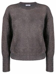 Brunello Cucinelli ribbed sweater with glitter detail - Grey