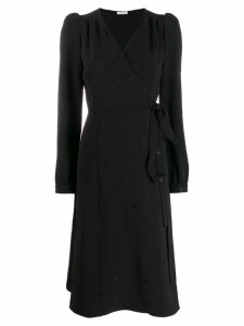 P.A.R.O.S.H. embroidered star wrap dress - Black