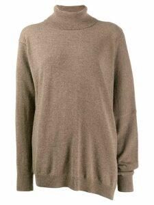 Maison Margiela asymmetric hemline knitted top - Brown