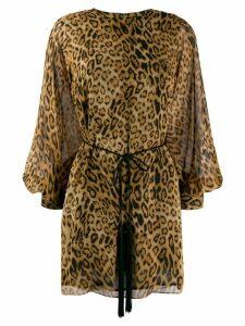 Nili Lotan belted leopard print dress - Brown