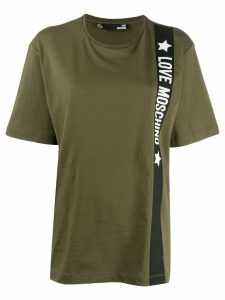 Love Moschino oversized logo stripe T-shirt - Green