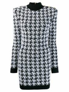 Balmain houndstooth mini dress - Black
