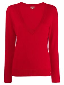 Temperley London ribbed V-neck top - Red