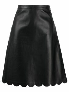 Red Valentino scalloped edge leather skirt - Black