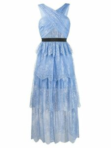 Self-Portrait tiered lace midi dress - Blue