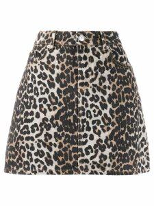 Ganni leopard print mini skirt - Neutrals