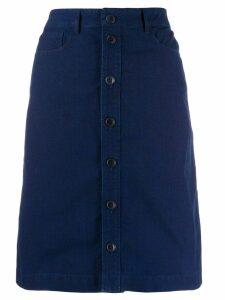 A.P.C. button-through A-line skirt - Blue