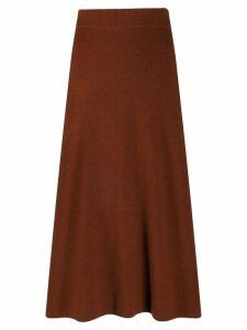 Yves Salomon knitted midi skirt - ORANGE