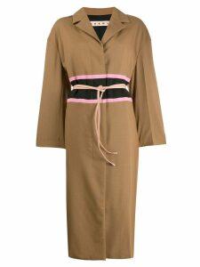Marni contrast waistband coat - Brown