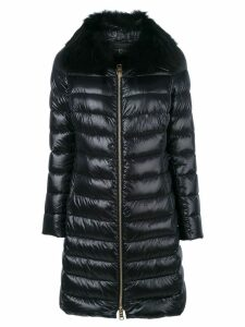 Herno fur trim padded coat - Black