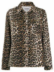 Ganni leopard print shirt jacket - Brown