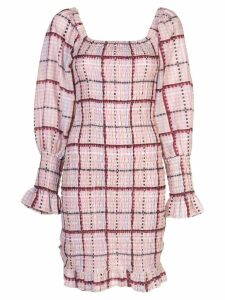 Ganni checked smocked dress - Purple