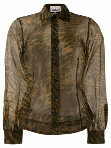 GANNI tiger print sheer shirt - Brown