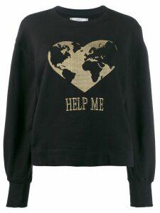 Alberta Ferretti heart embroidered sweatshirt - Black