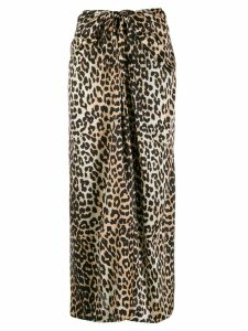 Ganni stretch silk leopard print skirt - Brown