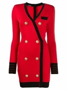 Balmain double-breasted wrap dress - Red