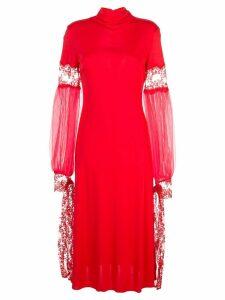Christopher Kane mesh sleeve midi dress - Red